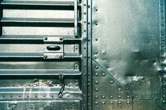 Train door close up with steel. royalty free stock images