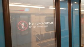Train door in Moscow subway. Mar 03, 2018 Moscow, Russia: Train door in Moscow subway on the way stock video footage