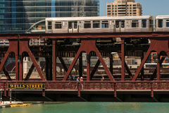 Train in downtown Chicago chicago, train, street, outdoors, usa, Stock Photo