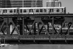Train in downtown Chicago chicago, train, street, outdoors, usa, Royalty Free Stock Images