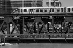 Train in downtown Chicago chicago, train, street, outdoors, usa, Stock Image