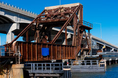 Train Drawbridge. Drawbridge for trains going over a river and under a highway Royalty Free Stock Photography