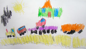Train drawn by child Royalty Free Stock Images