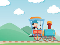 Train driver boy Royalty Free Stock Image