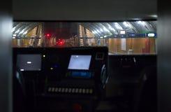 Train driver cabine. In Milan subway Stock Photo