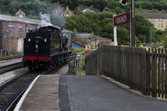 Train Driver reversing Steam Train at Keighley Railway Station on Keighley and Worth Valley Railway. Yorkshire, England, UK, Royalty Free Stock Image