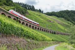 Train Driving Along Vineyards Near The River Moselle In Germany Royalty Free Stock Images