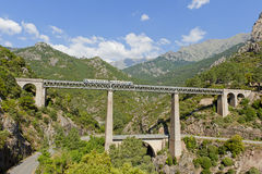 Train driving on large bridge and viaduct. Train driving on large railway bridge and viaduct against backdrop of mountains. Vivario, Corsica, France Stock Photo