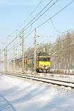 Train driving in the snow in the Netherlands Stock Photography