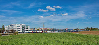 Train in Dubendorf. Dubendorf, Switzerland - 12 September, 2015: train passing. Dubendorf is a municipality in the district of Uster in the canton of Zurich in stock photos