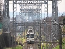 Train with electric power grids Royalty Free Stock Photos