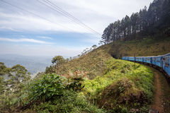 Train from Ella to Kandy among tropical mountains. Sri Lanka Royalty Free Stock Image