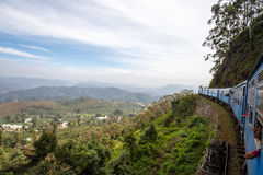 Train from Ella to Kandy among tropical mountains. Sri Lanka Stock Photo