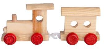 Train en bois de jouet avec l'entraîneur Images libres de droits