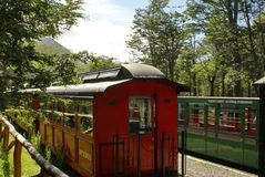 Train of the End of the World in the Tierra del Fuego National Park. Near Ushuaia, Argentina Royalty Free Stock Images