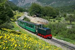 The Train of the end of the world. USHUAIA, ARGENTINA - NOVEMBER 26, 2017: `The Train of the end of the world`, the most southern railway in the world currently Royalty Free Stock Photo