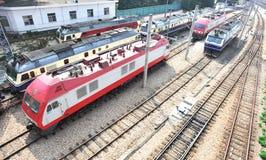 Train engine. Locomotives at railway station closeup Royalty Free Stock Photos