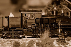 Train Engine and Engineer. On a Miniature Train Layout Royalty Free Stock Photo