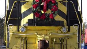 Train Engine in Winter Tilt-up. LEBANON, OH / USA - Dec. 27, 2017: tilt-up shot of the Lebanon, Mason, and Monroe train engine, sporting the original Nickel stock video footage