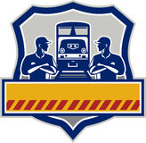Train Engineers Arms Crossed Diesel Train Crest Retro Royalty Free Stock Images