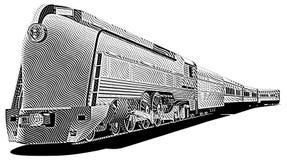 train_engraving antiquado ilustração royalty free