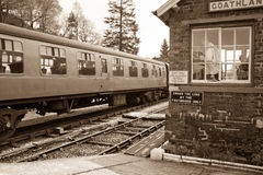Train entering Goathland Station Stock Images