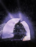 Train entering in the tunnel. Old steam train coming from the tempest and entering inside a dark tunnel royalty free illustration