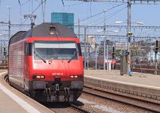 Train entering Zurich main railway station Royalty Free Stock Photography