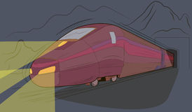 Train. Express train travel to the  railroad tunnel Stock Images