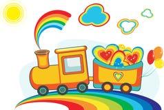 Train féerique d'arc-en-ciel avec les coeurs et les ballons heureux Photos libres de droits