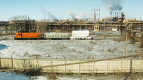 Train. Factories and ecology. Air pollution stock video