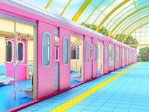 Train on fantasy station. With golden glass roof. 3d illustration Stock Image