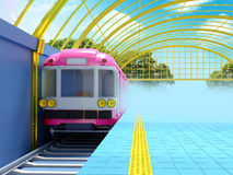Train on fantasy station. With golden glass roof. 3d illustration Stock Photography