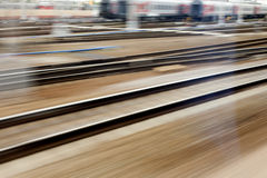 Train fast run on railway track Royalty Free Stock Photos