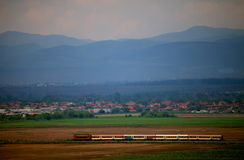 Train in fields Royalty Free Stock Photo