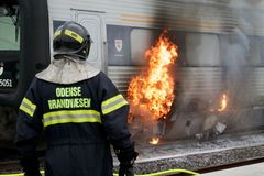 Train on fire Royalty Free Stock Photo