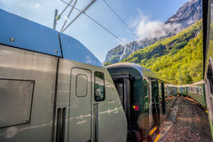 Train between fjords, railroad from Flam to Myrdal in Norway Stock Photography