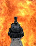 Train in Flames Royalty Free Stock Images