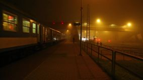 Train in the fog stock video footage
