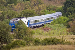 Train in forest landscape Royalty Free Stock Image