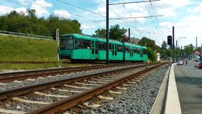 The Train. In Frankfurt Germany. They call in German language U Bahn stock video footage