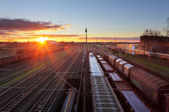 Train freight - Cargo railroad industry.  Royalty Free Stock Images