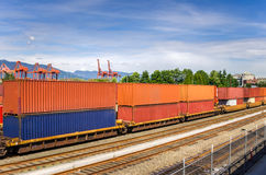 Train in a Freight Terminal Stock Photo