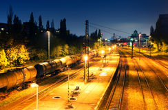 Train Freight transportation platform - Cargo transit.  Royalty Free Stock Image