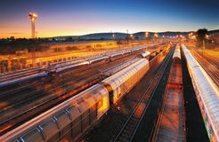 Train Freight transportation platform - Cargo transit.  Stock Photo