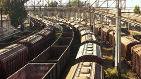 Train freight transportation platform. Aerial view. Transport and logistic background stock footage