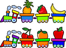 The train of fruits. A small train load of different fruits, in two colors Royalty Free Stock Photography