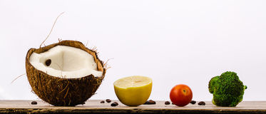 Train of fruits and vegetables Royalty Free Stock Images