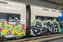 Train full of graffiti Royalty Free Stock Photography