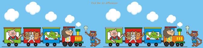 Train, game. Steam locomotive pulling wagons with animals. Find the ten differences Stock Photo